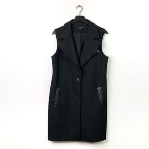 Ann Taylor   Black Faux Leather Trim Long Vest